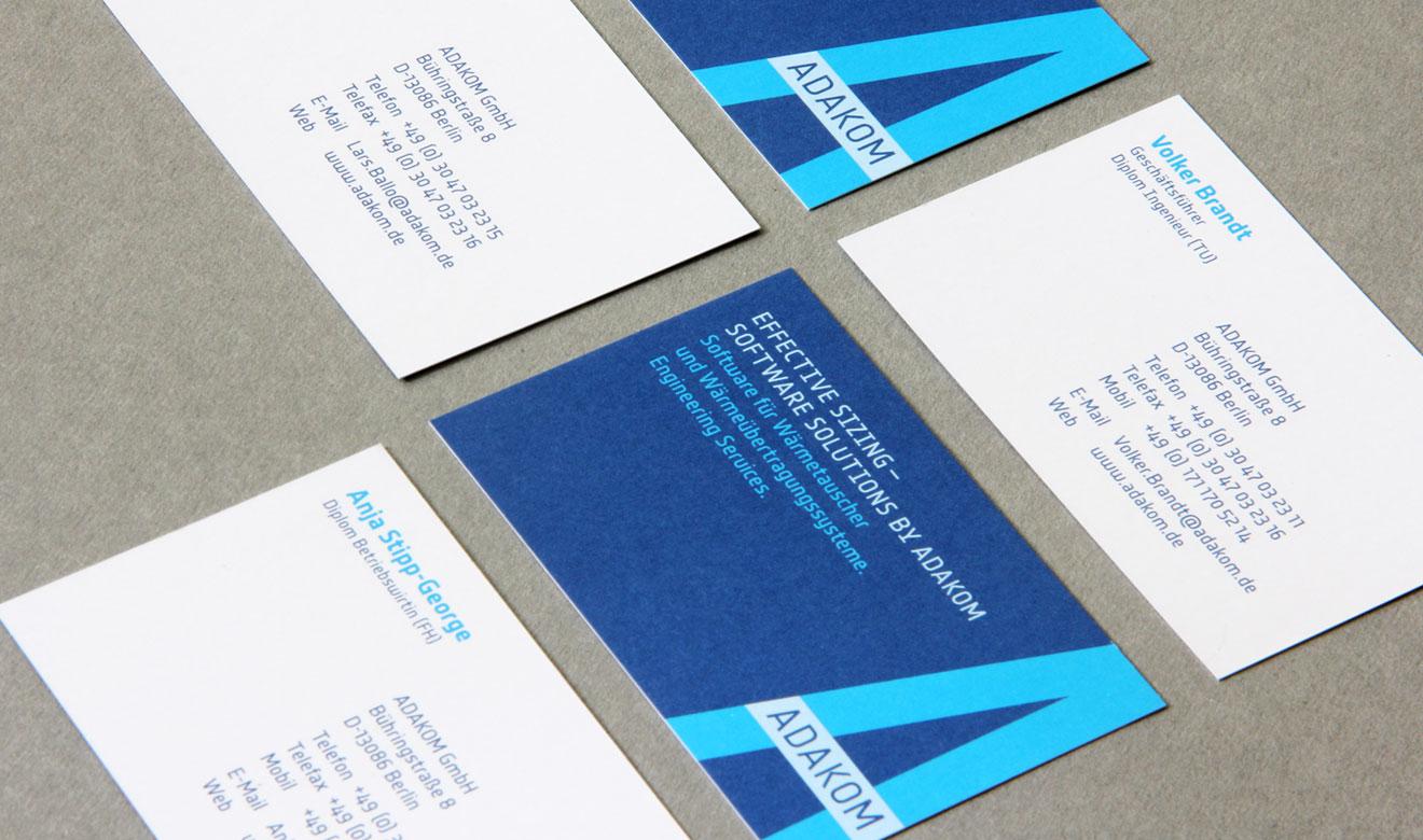 Visitenkarten der Adakom GmbH